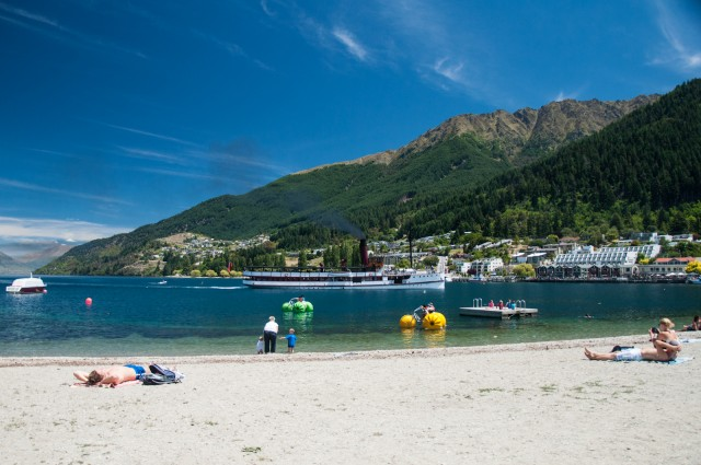 Massive steam boat arriving in Queenstown with a loud horn