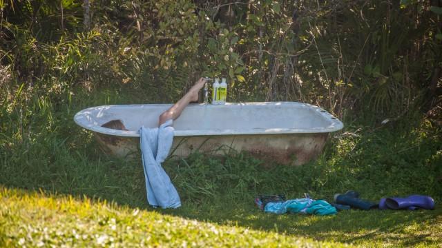 Taking a bath in the bush