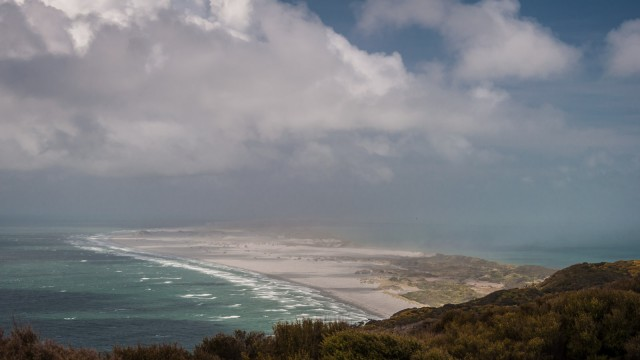 View east to the endless dunes of Farewell spit