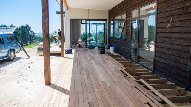 While waiting for the floor to be delivered, the deck is being continued