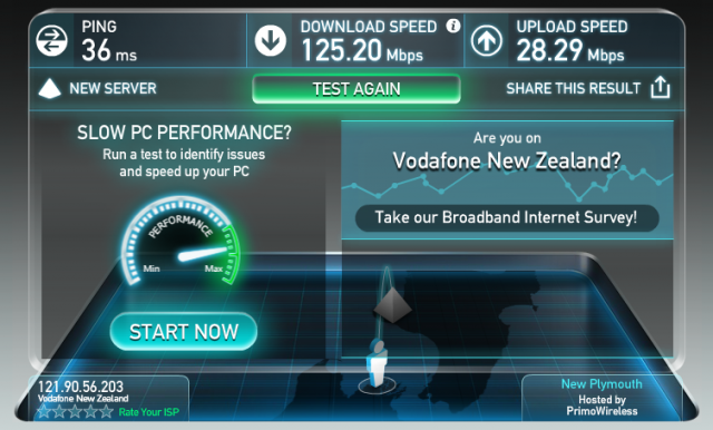 My personal xmas present #2: Super high-speed Internet. 125 Mbps!!