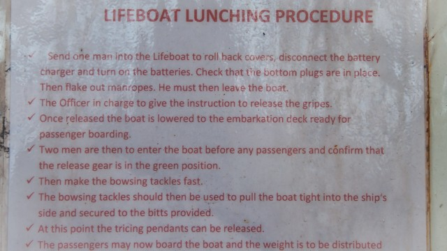More inspections revealed the true purpose of the lifeboats: They are for lunching.