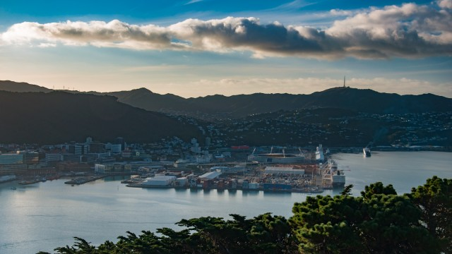 The Wellington harbour from Mt Victoria.